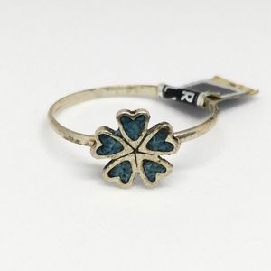 Crushed Turquoise Flower Ring Sterling Silver